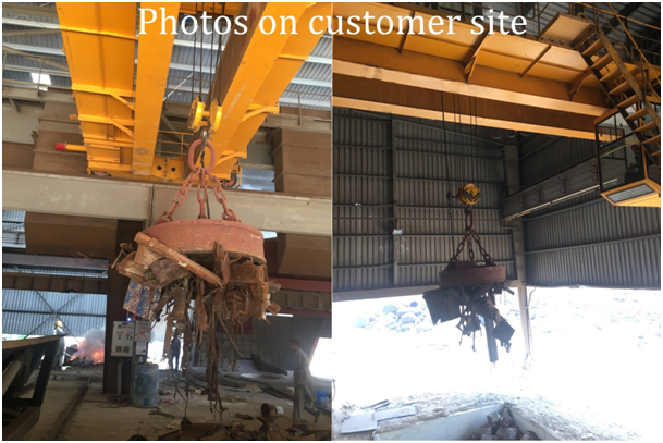 32ton Scrap metal magnet lifting double beam bridge crane