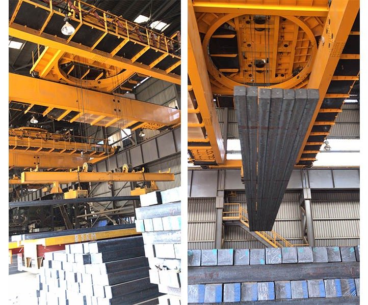 Overhead Magnet Crane with Rotating Traverse Beam Magnet Spreader