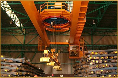 Overhead Traveling Magnet Crane for Hot Rolled Steel Billet Stacking