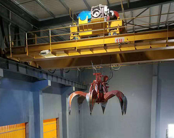 Waste handling overhead crane with trolley in Indonesia